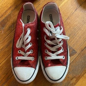Size 6 red sparkly Converse